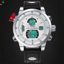 Hombres Impermeable Reloj Deportivo Multifunción de Acero Inoxidable de Cuero Genuino Masculino LLEVÓ el Reloj 2016 Reloj de Los Hombres Del Deporte de Digitaces Del Reloj