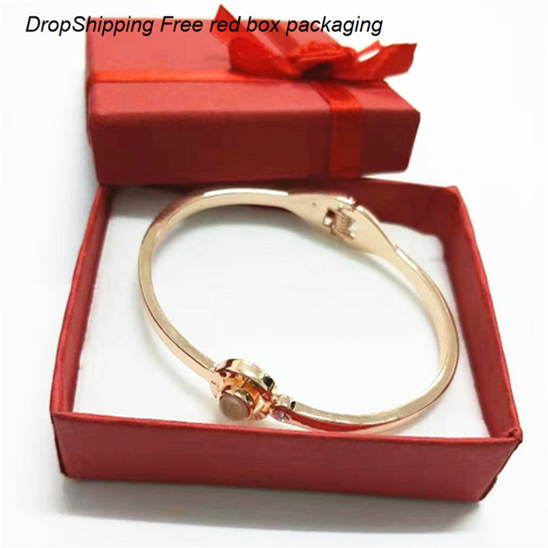 Charm Women Gifts 100 Languages I Love You Memory Bracelet Steel Roman Numerals Crystal Fashion Rose Gold Bracelet Dropshipping in Charm Bracelets from Jewelry Accessories