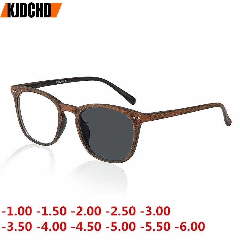 -1,00 Zu-6,00 Retro Runde Holz Farbe Sonne Photochrome Fertig Myopie Brillen Rahmen Männer Frauen Sonnenbrille Myopie Brillen