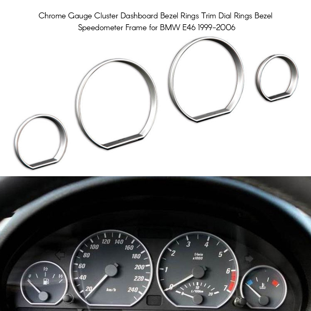 Chrome Gauge Cluster Dashboard Bezel Rings Trim Dial Rings Bezel Speedometer Frame for BMW E46 1999 2006 in Interior Mouldings from Automobiles Motorcycles
