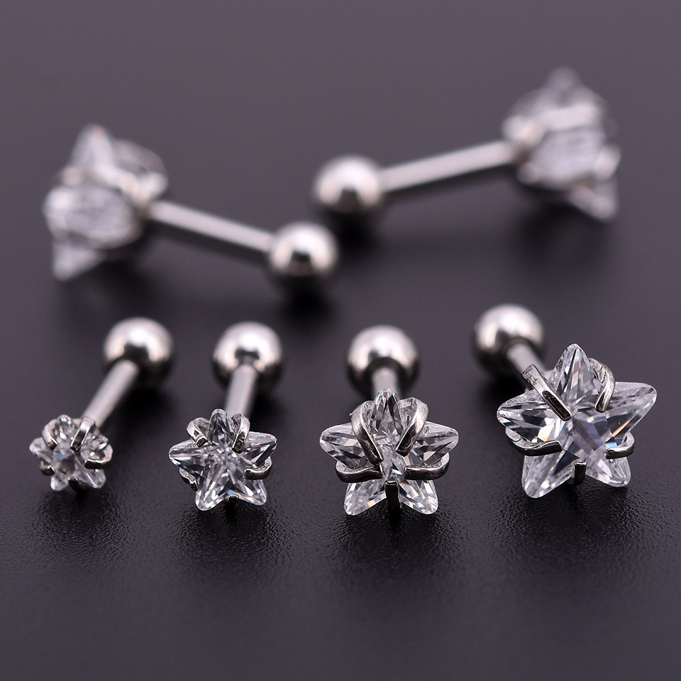 20Pcs Silver Zircon Crystal Round Ball Tongue Lip Bar Ring Stainless Steel Barbell Ear Stud Body Piercing Jewelry