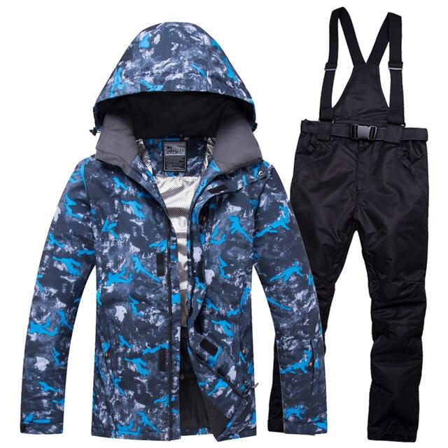 Новый лыжный костюм, мужские комплекты, супер теплые, утолщенные, водонепроницаемые, ветрозащитные, зимние костюмы, мужские комплекты, зимние лыжные и сноубордические куртки