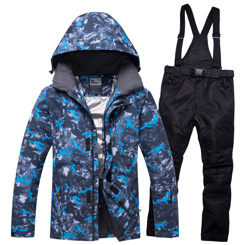 NEW Ski Suit Men Sets Super Warm Thicken Waterproof Windproof Winter Snow Suits Male Sets Winter Skiing And Snowboarding Jacket 2018 new lover men and women windproof waterproof thermal male snow pants sets skiing and snowboarding ski suit men jackets
