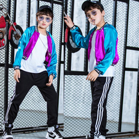 3 piece Children Ballroom Jazz Hip Hop Dance Competition Costume Jacket Tank Tops Shorts for Girls Clothes Dancing Wear Outfits