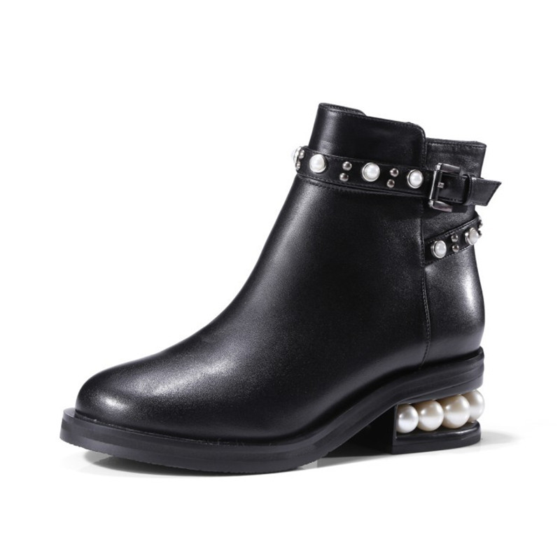 New 2017 zapatillas mujer casual brand Woman Famous Women Genuine Leather studded ankle boot black denim Female Winter Footwear almost famous new black tough love sweater msrp $49 00