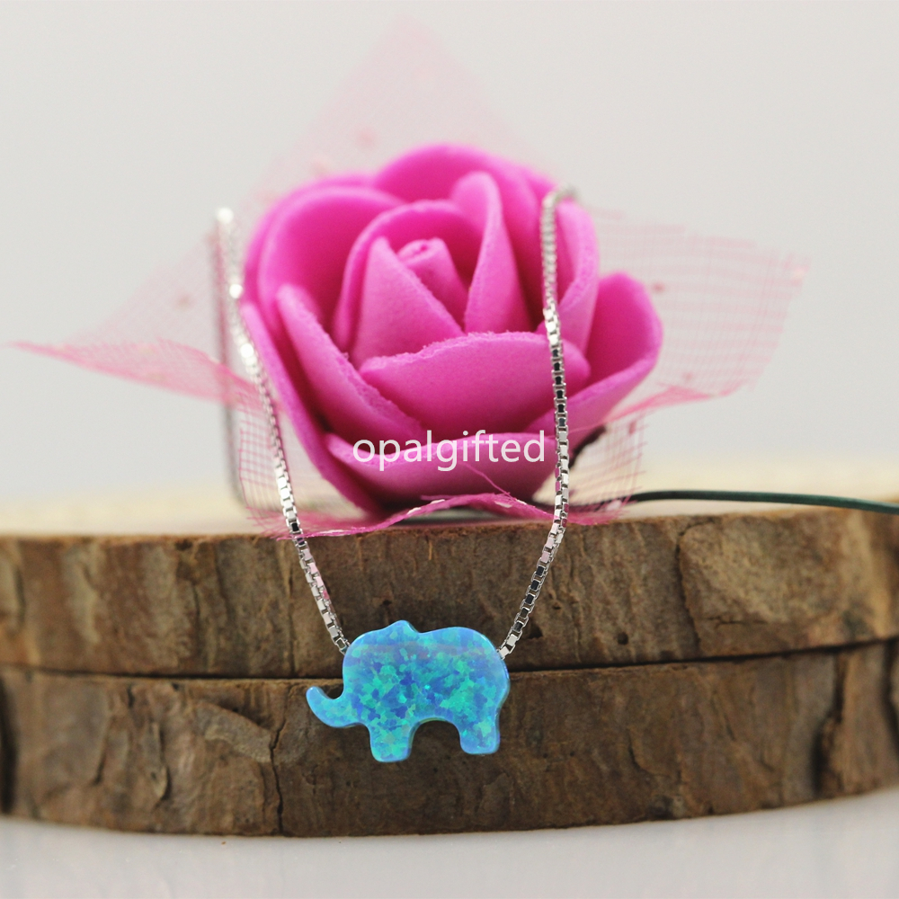 1pc Hot!! Free shipping 8*11mm 925 Silver Chain Fire Red Opal Necklace Elephant Shape Synthetic Opal Pendant Necklace