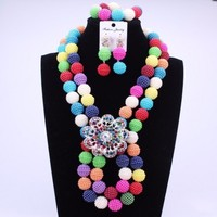 Mix Color Luxury African Beads Jewelry Set New Arrival Jewellery Big Design Nigerian Wedding Necklace Set 2017 Christmas Gift