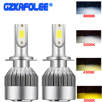 led light H4 H16 H11 H1 H3 car headlights bulb 72W Four-color 6000K 4300K 8000K 3000K Fog light 12v cob light sourcing universal image