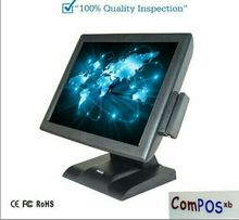 Free shipping touch screen Commercial pos terminal restaurant cash register all in one pc with card reader VFD Customer displa