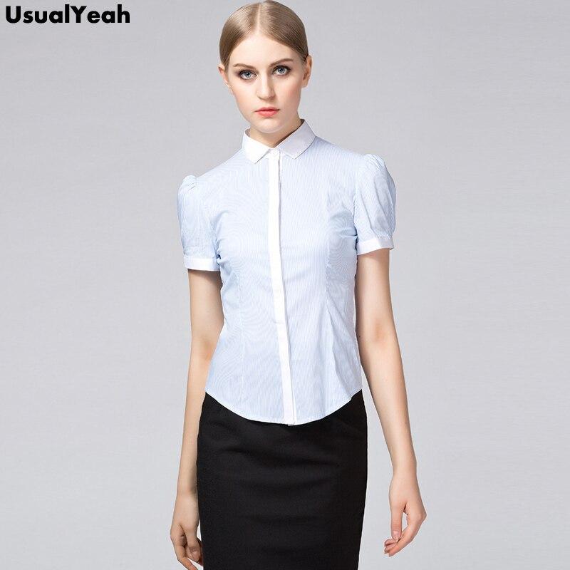 UsualYeah New Fashion Women Work Shirts Elegant Blouse Short Sleeve OL Cotton Shirt Casual Summer Vintage Top Light blue S - XXL