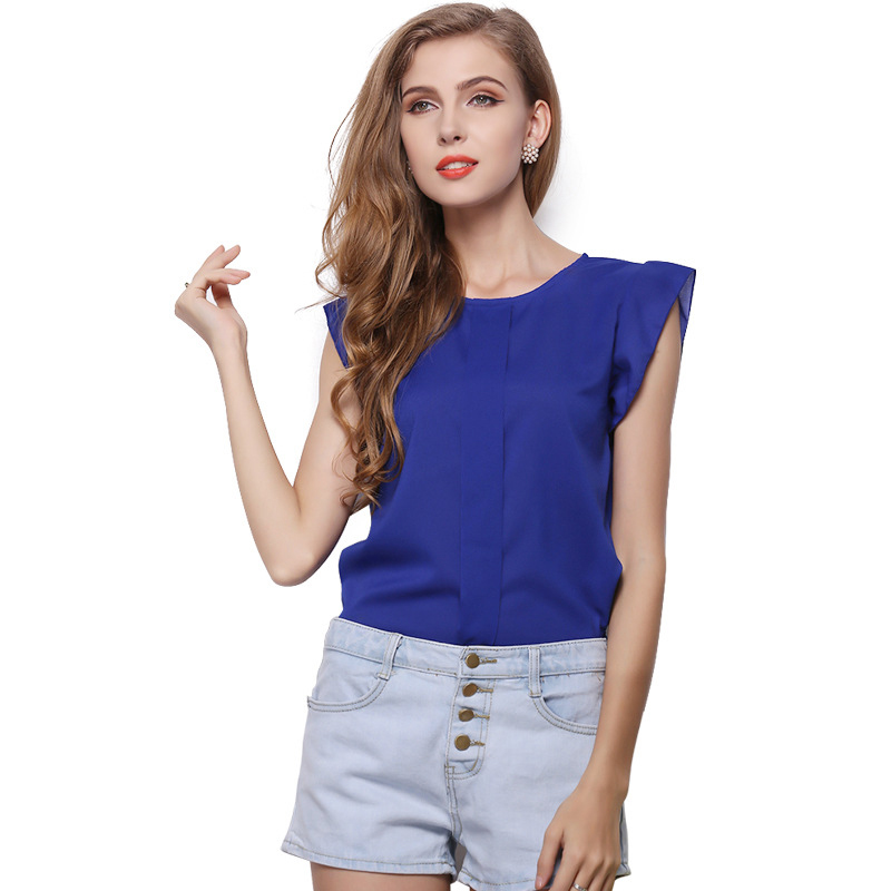 Womens Tops and Blouses Casual Chiffon O-Neck Blouse Women Short Petal Sleeve Top Female Clothing Womens Blouse Femme Shirt