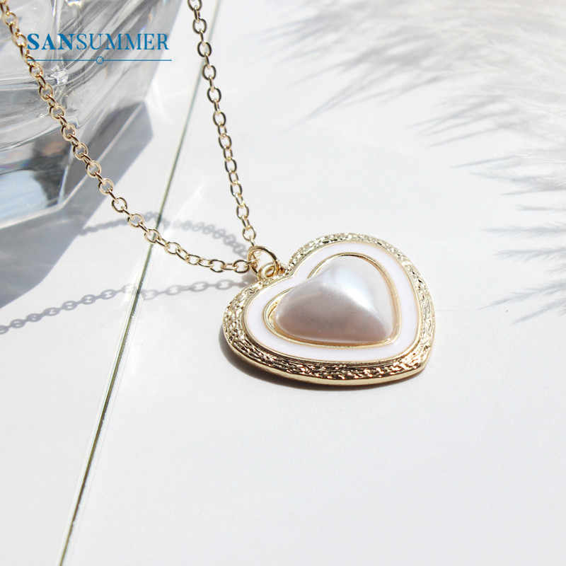 SANSUMMER Necklace And Ring Set Fashion Jewelry Womens Accessories Jewelry Sets Simple Metal Heart Pearls Jewelry Sets 5042