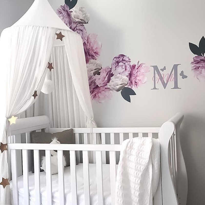 Chiffon Baby Room Decoration Mosquito Net Kids Bed Curtain Canopy Round Crib Netting Tent Photography Props Baldachin 240cm