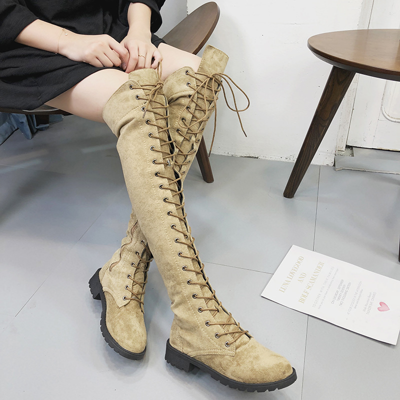 2018 autunno e inverno nuovo stile Europeo e Americano di grandi dimensioni stivali con le ginocchia testa tonda piatta stivali grigio 1022
