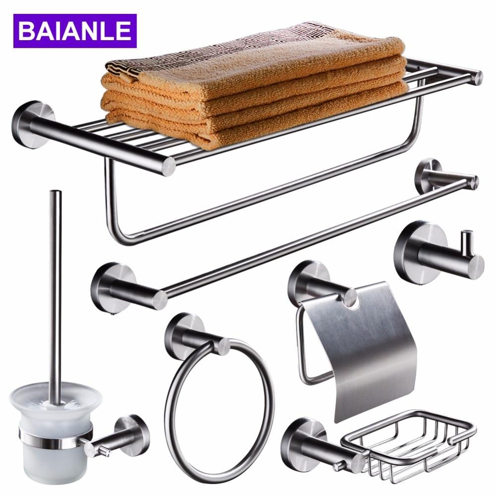 Bathroom Stainless Steel Towel Holder Wall Mounted Towel Rack Hanging Holder Single Towel Bar Ring Robe Hook Toilet Paper Holder