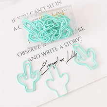 20pcs/pack light green Cactus Paper Clip Metal Bookmarks Bookmark Tag for Book Stationery