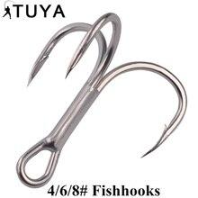 Fishing Hook 10pcs High Carbon Treble Hooks Super Sharp solid size 4 6 8 Triple Barbed Steel Fish hook