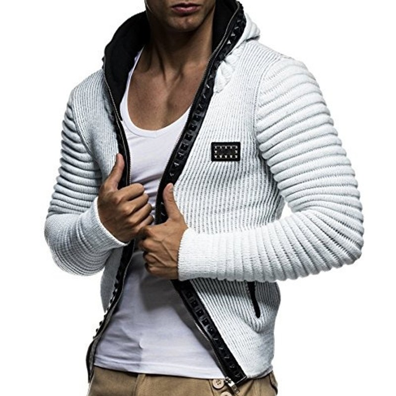 Hoodies Sweatshirt Mens Brand Casual Rivet Zipper Punk Jacket Casual Slim Fit Men Hoody Coat 2018 Winter Warm Men Sudaderas Top