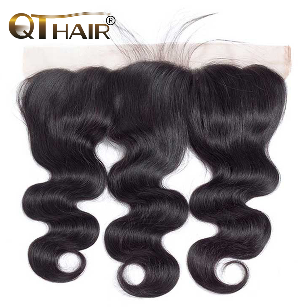 QT Hair Brazilian Body Wave Lace Frontal Closure 13*4 Ear to Ear Free Part Closure 130% Destiny Non-remy Hair Free Shipping