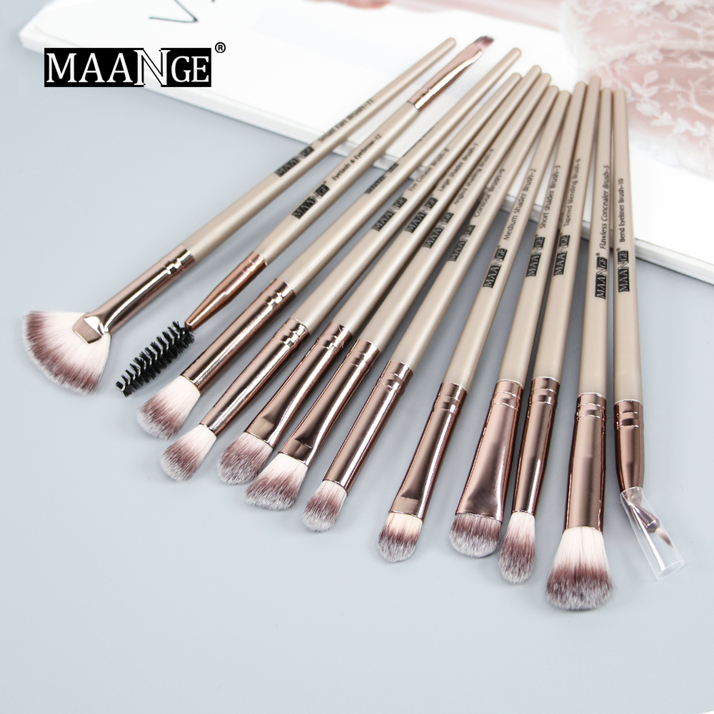 Image 3 - MAANGE New Pro Makeup Brushes Set 12 pcs/lot Eye Shadow Blending Eyebrow Eyelash Eyeliner Brushes pincel Maquiagem For Makeup-in Eye Shadow Applicator from Beauty & Health