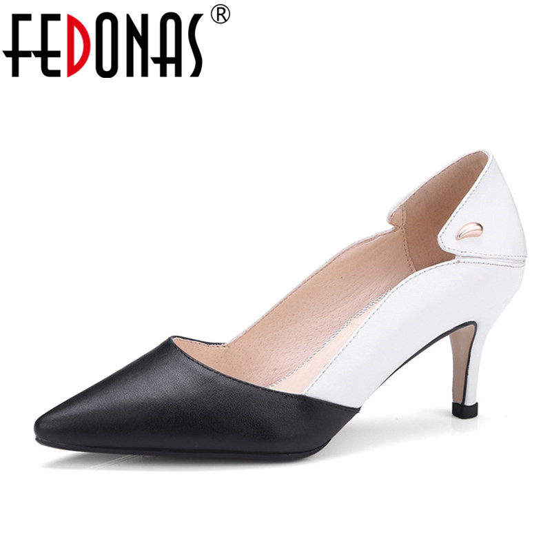 FEDONAS New Shoes Woman High Heels Pumps 6.5CM Women Shoes Sexy Patchwork Wedding Shoes Pumps Pointed Toe Shoes Heels Big Size classic sexy pointed toe mid 8cm high heels women pumps shoes faux suede spring part wedding pumps big size 35 42 10 colors