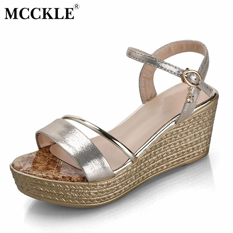 MCCKLE 2017 Fashion Women Shoes Woman Sandals Open Toe Buckle Black Platform Summer Casual Comfortable New Sexy Sequined Wedges mcckle 2017 fashion woman shoes flat women platform round toe lace up ladies office black casual comfortable spring