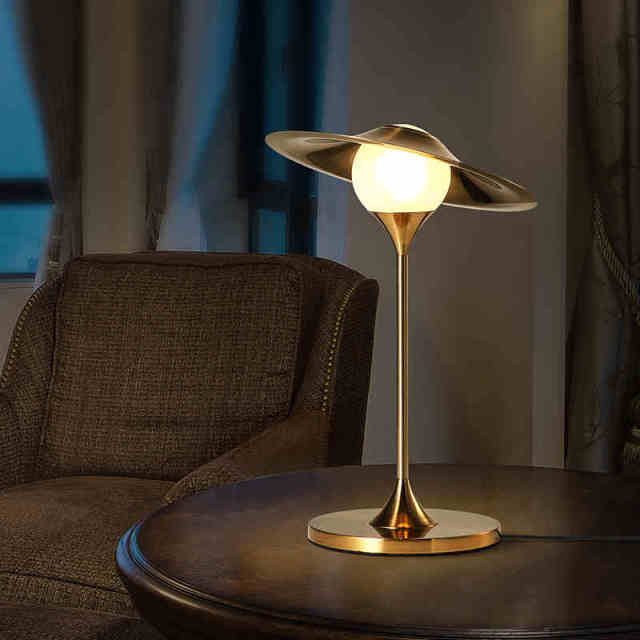 American Rural creative bedroom bedside decorative desk lamp modern simple fashion warm  imitation copper inserted radio lamp