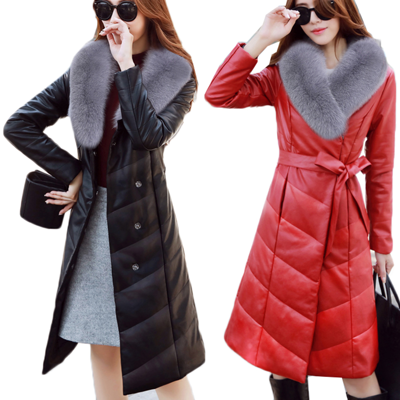 Plus Size 5XL Winter Jacket Women Women's Down Jackets Warm Thick Winter Coat Female Fur Collar   Leather   Jacket Women's Fur Coat