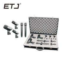 ETJ Marca Profissional 5 Peça Drum Kit Microfone Instrumento de Percussão Tambores Guitarra Bronze 5A
