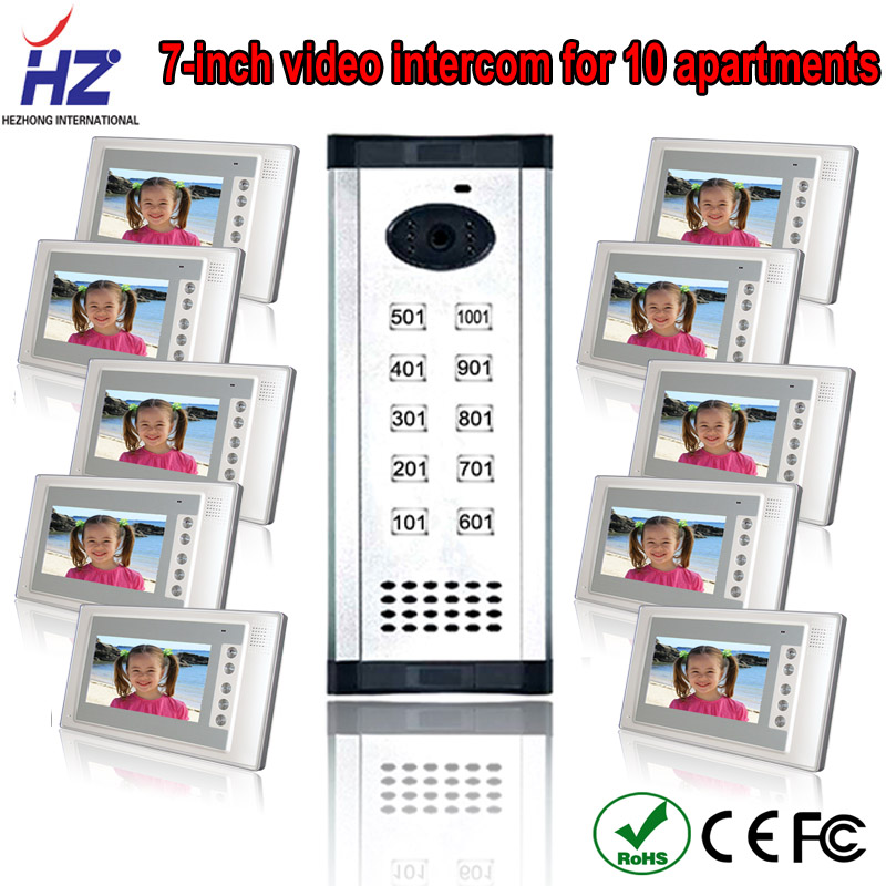Saful Luxury panel wired video door phone with camera 10 apartments intercom system for apartment