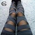 Lace girl 2017 nova moda das mulheres de malha calças leggings de fitness leggings transparentes cruz bandagem elástica lápis fino legging