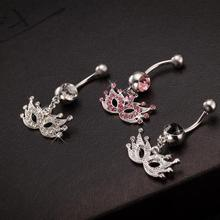 Unisex Body Jewelry Dangle Belly Piercing Masquerade Mask Auger Button Rings  Fashion Navel Ring