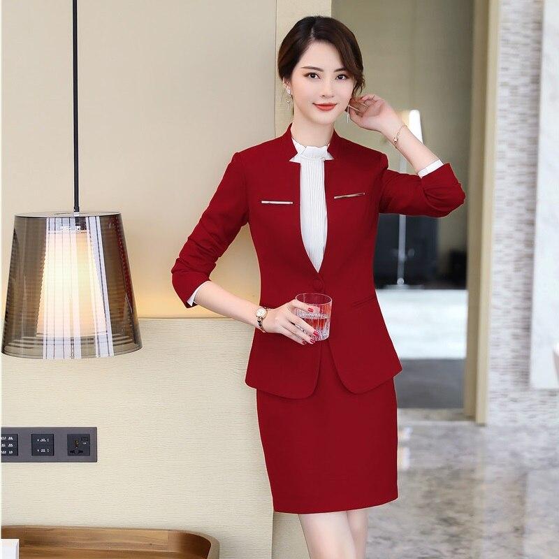 cc57769422 Manteau Femmes Styles Suits Rouge Ol Ensemble Dames Suits Avec Red Formelle  black Jupe Blazers D'automne Pantsuits Nouveauté 2019 Uniformes ...
