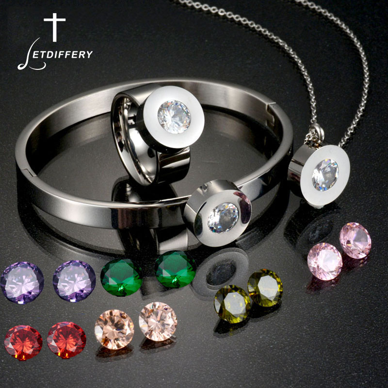 Letdiffery Necklace Rings Bracelets Famous-Brand Jewelry-Set Wedding for 7-Colors Cz-Stone