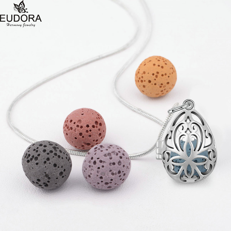 цена на Eudora Drop Water Harmony Bola Locket 12mm with Volcanic Lava Stone Ball For Women Aroma Diffuser Locket Pendant Necklace K49Y12