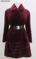 Arlenesain custom 2018 новый красный стриженый норковый мех качели Женское пальто