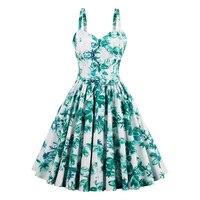 Sisjuly Women Summer Green Dress Female Spring Green Floral Dresses Sleeveless Knee Length A Line Sashes