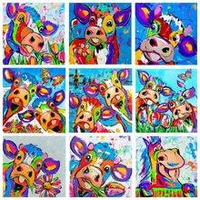 5d алмазная живопись цвет корова курица картина полная квадратная Алмазная мозаика Стразы 3D Алмазная вышивка акварель мультфильм
