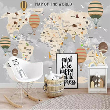 Cartoon world map background wall professional making mural wholesale wallpaper custom photo