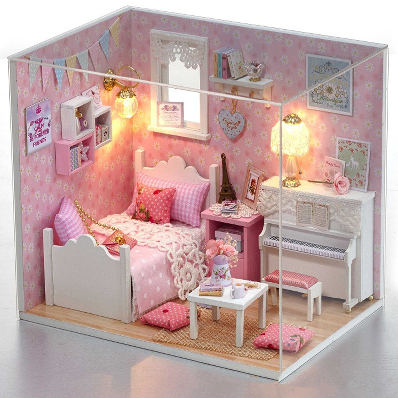 DIY Adornment Lovely Cottage Mini Wooden Toy Room Room Furniture Toy House Doll Interactive Game Toys Creative Gift Birthday ...