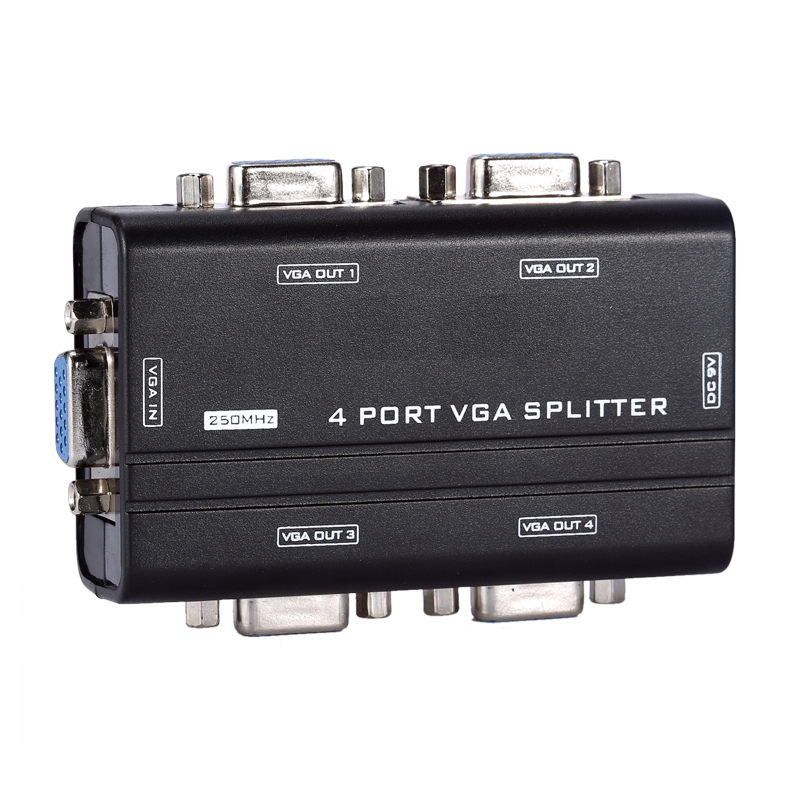 <font><b>VGA</b></font> Splitter 1 to 4 ports <font><b>VGA</b></font> video splitter 1-in-4-out 250MHz device 1920*1440 4 Port <font><b>VGA</b></font> Monitor Splitter Adapter 1x4 image