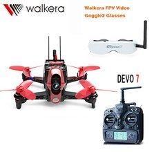 F19845 Walkera DEVO 7 TX Rodeo 110 110mm Carreras de RC Quadcopter Drone RTF Con 5.8G FPV Head Rastreador Goggle2/Cargador/600TVL Cámara