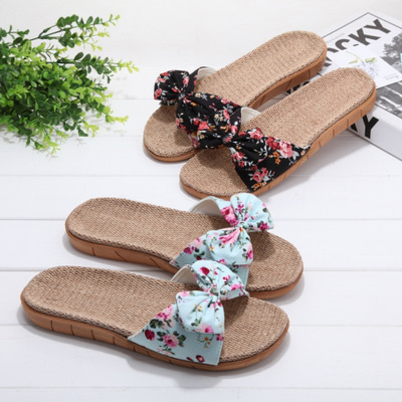 Summer and autumn linen slippers female summer home indoor floral non-slip bathroom cute cool slippers wholesale 1