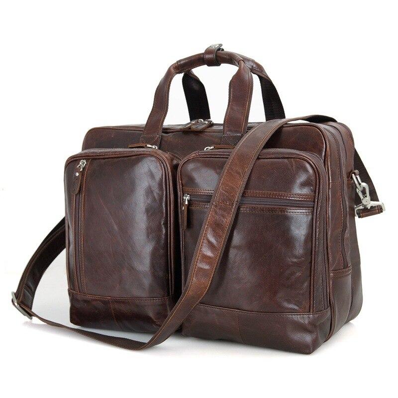 Big Large Capacity Vintage Genuine Leather Men Messenger Bags Business Travel Bags 15.6 Laptop Man Briefcase Portfolio #M7343