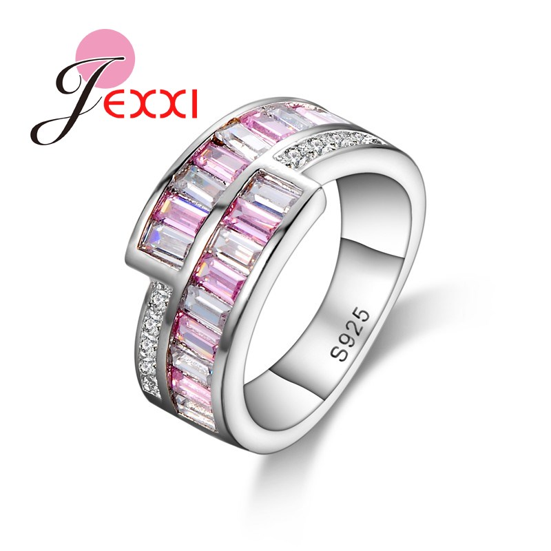 JEXXI Simple Fashion Elegant Pink Crystal Inlaid 925 Sterling Silver Women Wedding Engagement Rings Classic Propose Jewelry