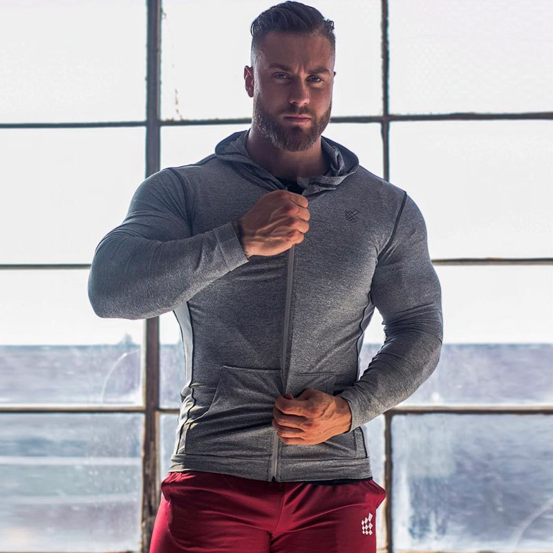 Workout Jacket Hoodies Long-Sleeve Fitness Jogging Running Sweatshirts New Male Gym Spring