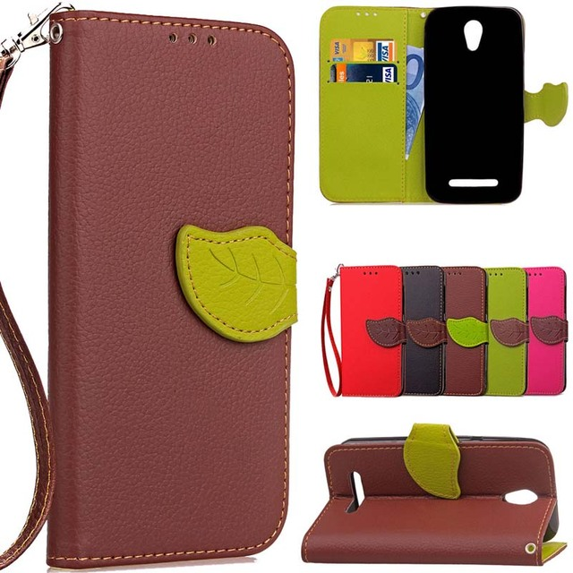 BEFOSPEY Leaf Leaves Pu Leather Phone Case Luxury Elegant Cover Cases Magnetic Wallet For ZTE L110