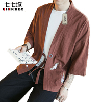 Chinese Style Clothes 100 Cotton Linen Men Loose Jacket 3 4 Sleeve Kimono Cardigan Casual Cranes