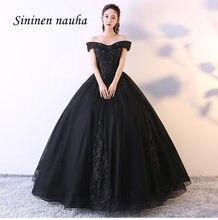 Preto 2019 Quinceanera Prom Vestidos com Manga Comprida Off The Shoulder Apliques vestido de Baile Vestidos De Vestidos de 15 Años Doce 16 335