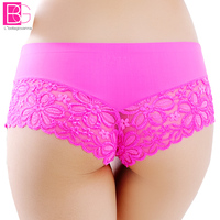 5pcs Lot Women Seamless Boyshort Underpants One Piece Panties Female Ice Silk Lace Briefs Boxer Bragas